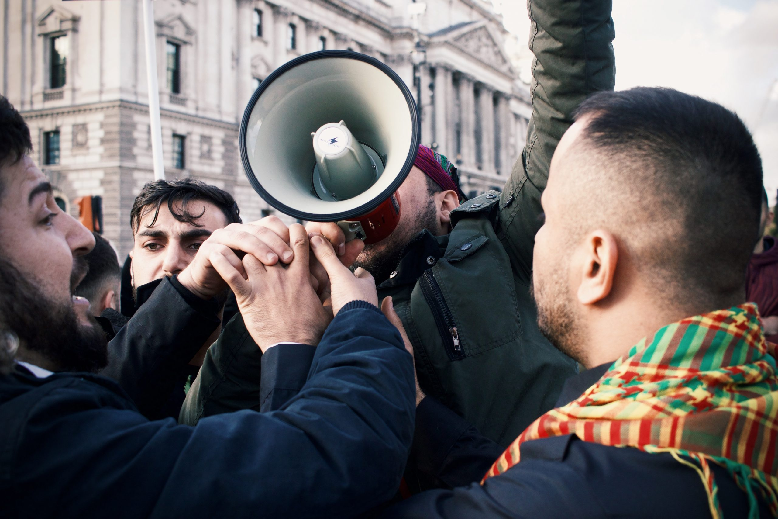 Protestors with megaphone